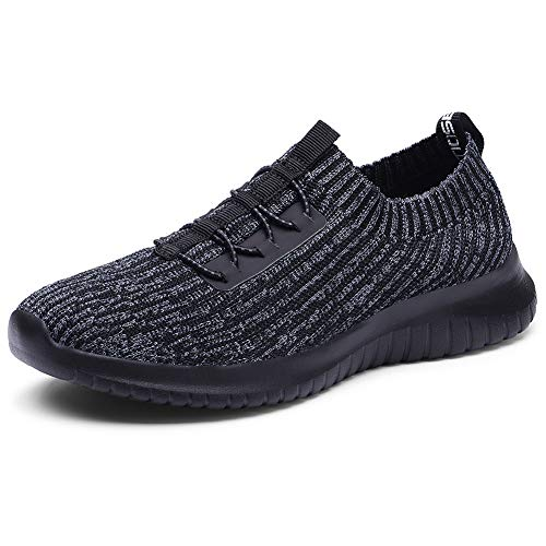 TIOSEBON Women's Slip On Walking Shoes Lightweight Casual Running Sneakers 13 US Deep Gray-Black (Best Running Shoes For Casual Wear)