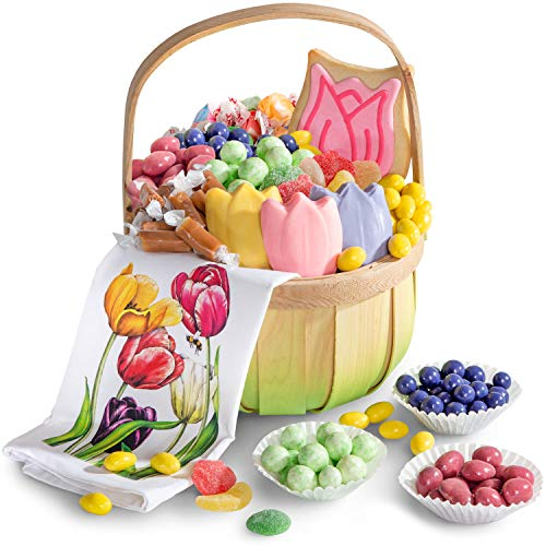 Mothers Day Tulips Cookie Basket - Mother's Day Spring Flower Chocolate & Sweets Gift Basket