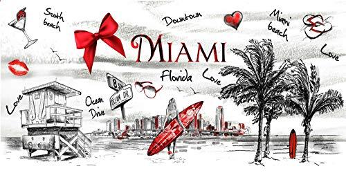 (pilot17068 Miami Beach Towel Classic City View Postcard Florida Beach Pool Souvenir 30