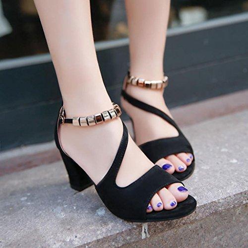 IGEMY Sommer weibliche High Heels Sandalen dicken Fisch Mund Peep-Toe Schuhe sexy Sandalen Schwarz