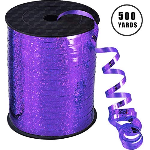 500 Yards Shiny Purple Curling Balloon Ribbon,3/16-Inch Balloon String Gift Wrapping Ribbon Perfect for Birthday Weddings Party ()