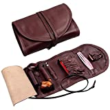 Leather Tobacco Smoking Pipe Pouch Bag Organize Case Pipe Tool lighter Holder Pocket for 2 pipe (Reddish brown)