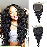 Luwigs 5x5 Lace Closure Loose Wave Brazilian Human Virgin Hair With Natural Hairline Free Part Natural Color (16 inches, Loose Wave)
