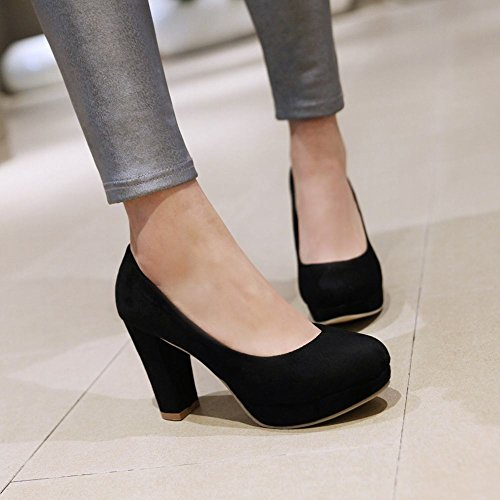 Latasa Womens Faux Suede Block High Heels Dress Pumps Black tn4HWbs