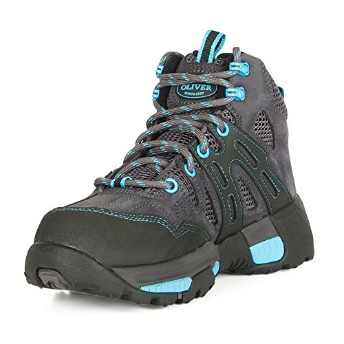 Oliver 5'' Leather & Mesh Women's Steel Toe Sneakers, Black & Blue (OL21112) by Oliver