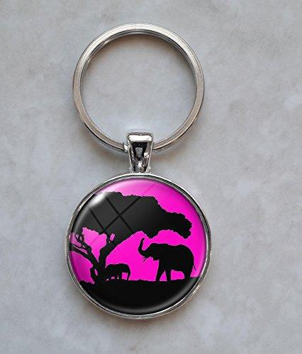 Elephant Silhouette Keychain (Silhouette Metal Keychain)