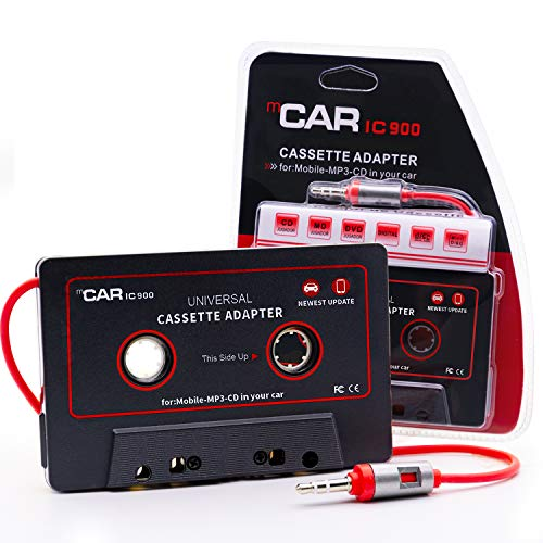 Car Cassette Aux Adapter, Audio Stereo Receiver, 3.5mm Universal Audio Cable Tape Adapter for Classic Cars, Compatible with Phone, MP3 ect. Classic Dark Red and Black (Audio Cassette Car Player)