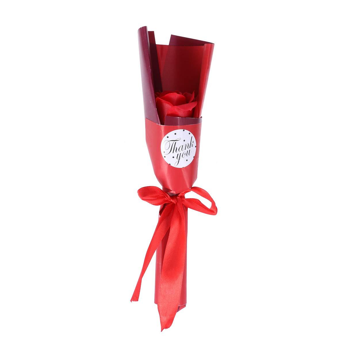 Amosfun 1pc Rosa jab/ón perfumado Rosa Flor ba/ño Cuerpo jab/ón Planta Aceite Esencial jab/ón para el d/ía de la Boda Banquete de Boda Aniversario Regalos Rojo