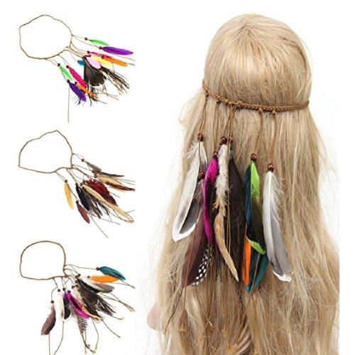 Ikevan Indian Tribal Hippie Feather Tassels Headband Bohemia Style Peacock Feather Headdress Braid Hair Hoop Lead Accessories  White