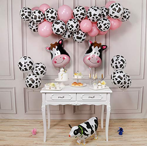 PartyWoo Cow Party Balloons, 58 Pcs Farm Party Balloons Set of Cow Foil Balloons, Cow Print Balloons, Baby Pink Balloons, Walking Cow Mylar Balloon for Farm Birthday Party, Farm Animal Theme Party