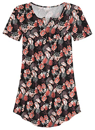 Esenchel Women's Loose Henley Blouse Flowy Tunic Top 3X Coral Rose