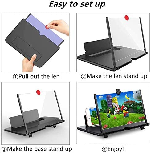 """14"""" Phone Screen Magnifier,Pull Cell Phone Amplifier,3-D Phone Screen Amplifier for Movies,Videos,and Gaming,4-5X Magnification,Supports All Smartphones(White)"""