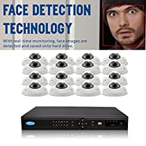 OwlTech 16 Channel Face Detection NVR up to 5MP Resolution + 16 x 720P 1.3MP 3.6mm Hotel Style IP Dome Camera (NO LED) WDR + POE + 4TB HDD + 100ft cable and accessories