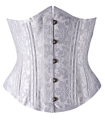 Camellias 26 Steel Boned Heavy Duty Waist Trainer Corset Shaper for Weight Loss White Brocade