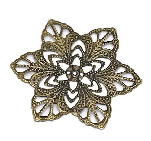 Bronze Filigree Flower Wraps Connectors Craft DIY Jewelry Making Finding ()