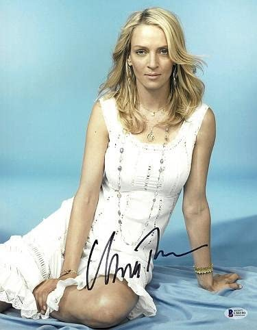 Uma Thurman Signed 11x14 Photo Sexy White Dress Beckett Holo