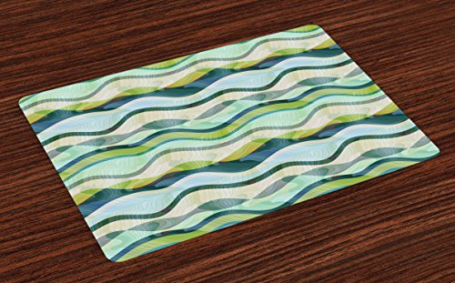 Lunarable Ocean Place Mats Set of 4, Wavy Shapes in Abstract Design Ombre Inspired Sea Theme Colors, Washable Fabric Placemats for Dining Room Kitchen Table Decoration, Seafoam Pale Green Olive Green (Dinner Plate Green Olive)