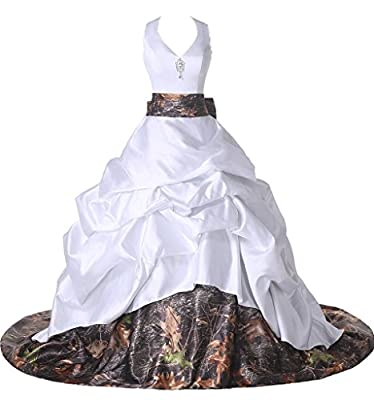 Ivydressing Gorgeous Satin and Camouflage Halter Ball Gowns Wedding Dresses