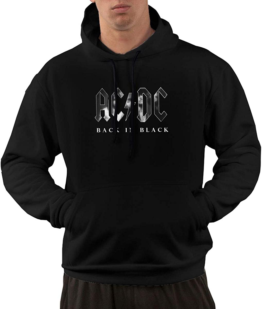 Grozinrel Mens Design with ACDC Back in Black Print Hoodie with Pocket