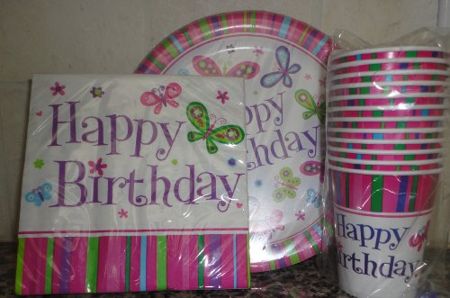 Happy Birthday Party Pack 18 Plates, 20 Napkins 12 Hot/Cold Cups (Butterfly)