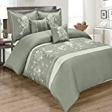 10PC Myra King Size Embroidered Bed in a Bag Comforter Set, Gray, by Royal Hotel