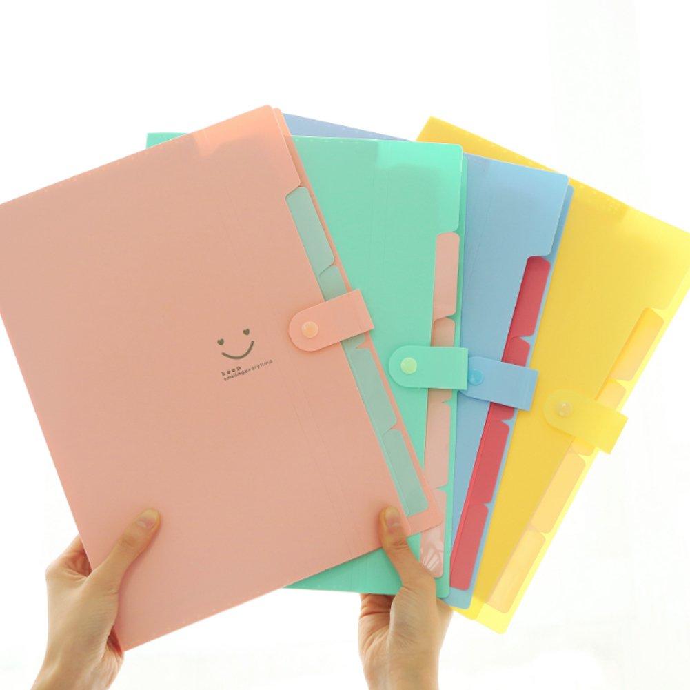 Wudi Papel de Color Caramelo A4 expansi/ón multinivel Sonrisa Carpeta acorde/ón Organizador Papel Verde
