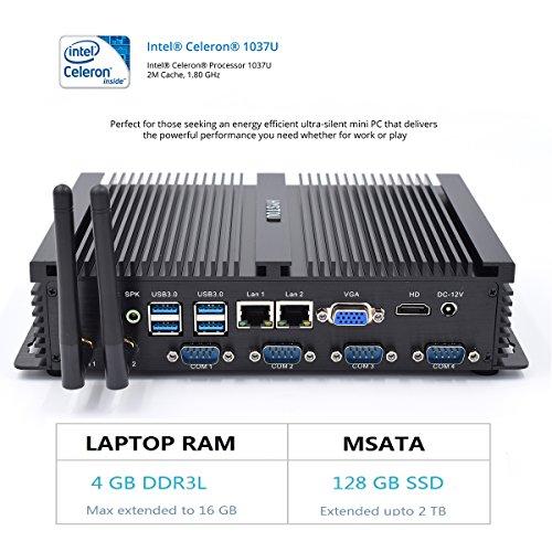 HYSTOU FMP04 Intel Core 1037U Processor, Gaming Mini Pc, Mini Desktop Computer,Finless Mini Box PC,Power Interuption Recovery,Support Dual Display,Windows 7 (64 bit) (4GB RAM 128GB SSD)