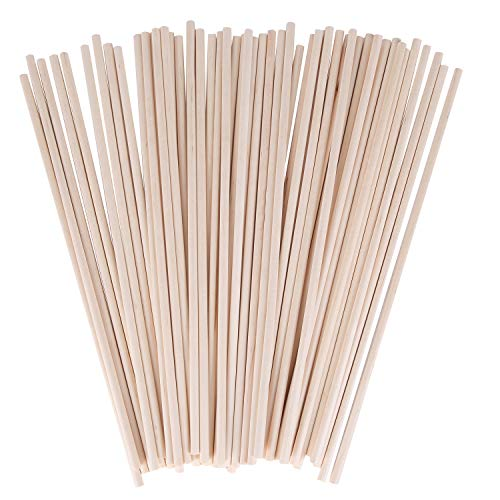 Senkary Wooden Dowel Rods Unfinished Natural Wood Craft Dowel Rods 12 Inch x 1/4 Inch, 50 Pieces