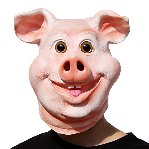 PartyCostume - Happy Pig Mask - Halloween Party Funny Cute Latex Animal Head Mask -