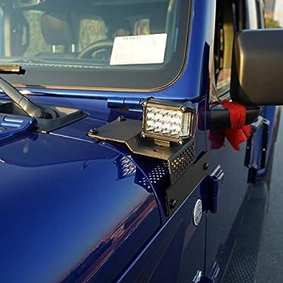 AUXMART A-Pillar Mounting Brackets for LED Light Bar Work Lights Fit 2020-2020 Jeep Wrangler JL (1 Pair,Black): Automotive