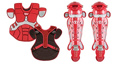TAG 700 Pro Series II Men's Catchers Set with Body Protector and Leg Guards, Scarlet/Grey ()