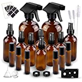 Glass Spray Bottle Set, Wedama Amber 6 10 ml Essential Oil Roller Bottles Kits with 10 Empty Glass Spray Bottle (16/4/2oz) & Accessories for Aromatherapy Facial hydration Watering Flowers Hair Care