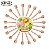HOSL 50 Pack 6'' Mini Wooden Honey Dipper Sticks Spoon for Server for Honey Jar Dispense Drizzle Honey,Party, Wedding Favors