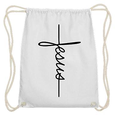 Shirtee Jesus - Bolsa de algodón para gimnasio, color Blanco ...