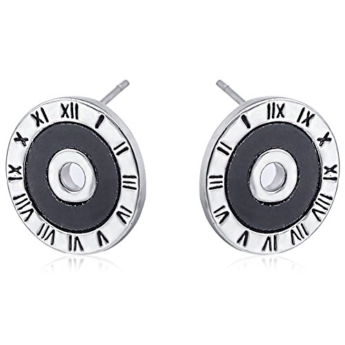 Silver Plated Retro Disk Dial Draft Women Fashion Stud Earrings