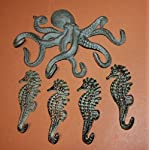 Southern Metal Antiqued Look Octopus Seahorse Bundle of 5 Wall Hooks, Solid Cast Iron