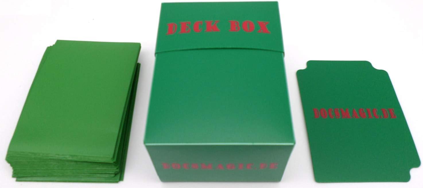 docsmagic.de Deck Box + 100 Mat Green Sleeves Standard - Caja ...