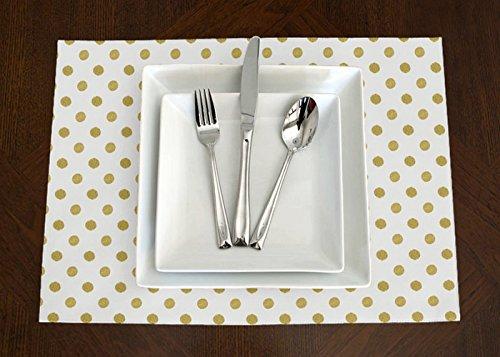 Set of 4 - White & Metallic Gold Polka Dot Print Modern Placemat Topper Table Mat Metallic Modern Table