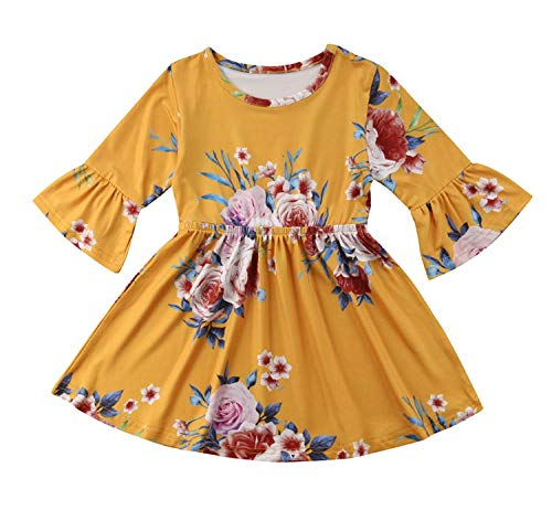 Toddler Infant Baby Girl Dress Floral Ruffle Flare 3/4 Sleeve Yellow Skirt Fall Clothes Set (3-4 Years, Yellow)