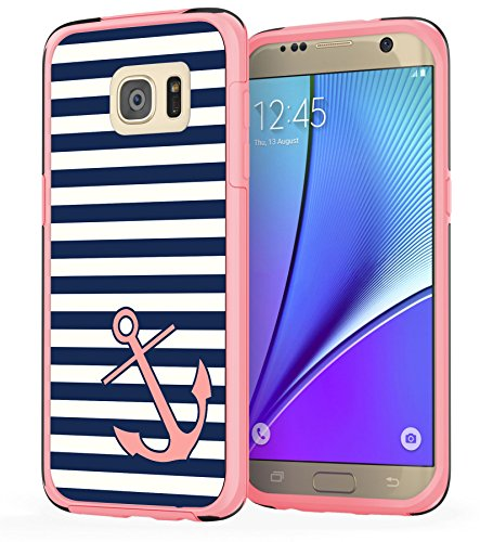 Samsung Galaxy S7 Edge Anchor Case, True Color Nautical Coral Anchor on Stripes Hybrid Hard Back Cover + Soft Slim Durable Protective Shockproof Rubber TPU Bumper - Pink