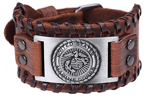 United States Marine Corps Army Military Patriotic Medallion Charm Brown Leather Bracelet Gift Jewelry (brown leather, antique silver)