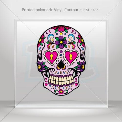 Decals Sticker Floral Skull car helmet window Boat jet-ski Garage door 6 X 4.2 Inches Vinyl color print 0600 RSX97