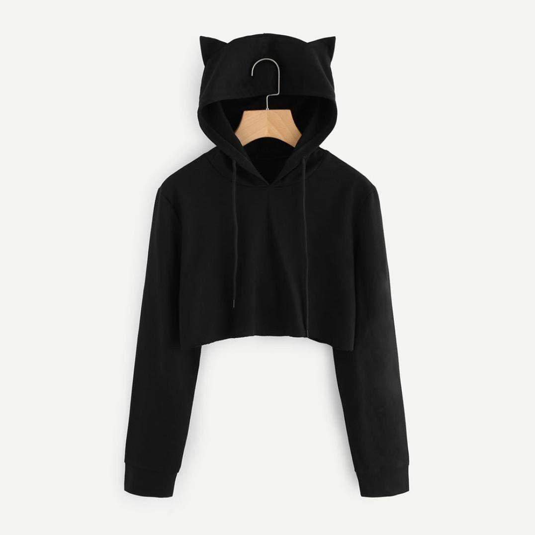 5ad73796f45 Amazon.com: Fanteecy Women's Teen Girls Cute Cat Ear Hooded Sweatshirt  Hoodies Crop Top Casual Pullover: Clothing