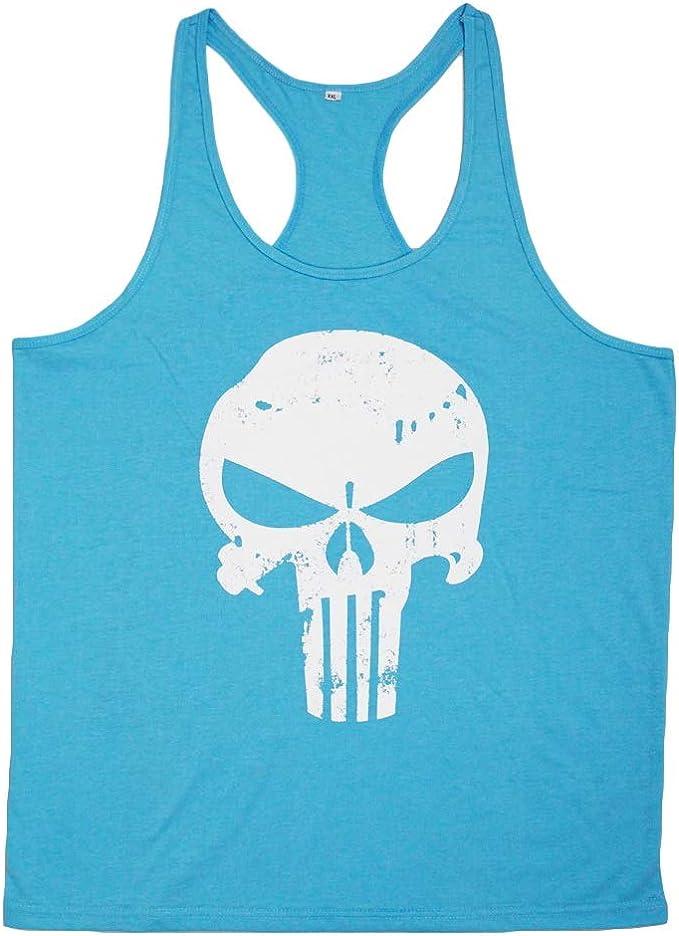 KJHSDNN Camisetas Sin Mangas para Hombres Estampado de Calavera Impresa Tank Top sin Mangas Chaleco Deportivas Gimnasio Muscle