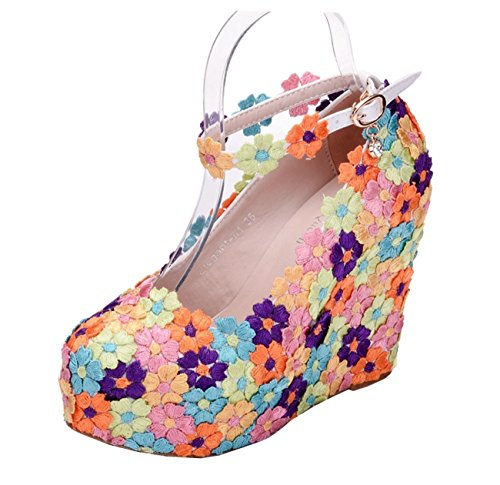 Heel Strap Heel Hidden Flowers Ankle Pumps 12cm Wedding Womens High Wedge Platform Minishion Multicolor OTwXnxaz