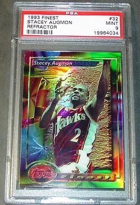 1993 Stacey Augmon Finest Refractor #32 PSA Mint 9 Low PO...