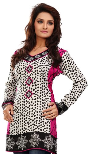 Long-India-Tunic-Top-Womens-Kurti-Printed-White-Blouse-Indian-Clothing