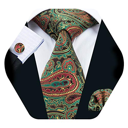 Barry.Wang Men Tie Set Solid Silk Necktie Pocket Square Cufflinks Extra Long Tie (Green Tie Set)
