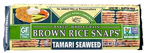 Brown Rice Snaps, Tamari Seaweed, 3.5-Ounce Packs (Pack of 12)