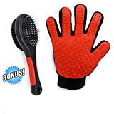 Deshedding Glove Brush Set, Mycicy Pet Grooming and Deshedding Tool For Dogs and Cats Bathing, Soft Silicone Massage Glove (Not Hard Plastic) (right hand)